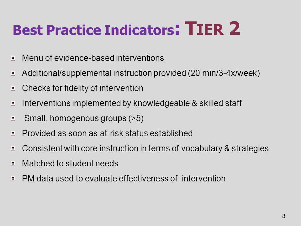 Best Practice Indicators: Tier 2