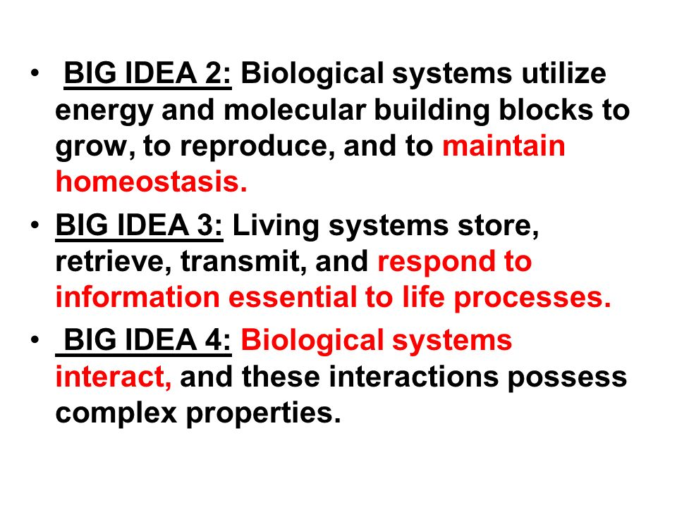 BIG IDEA 2: Biological systems utilize energy and molecular building blocks to grow, to reproduce, and to maintain homeostasis.