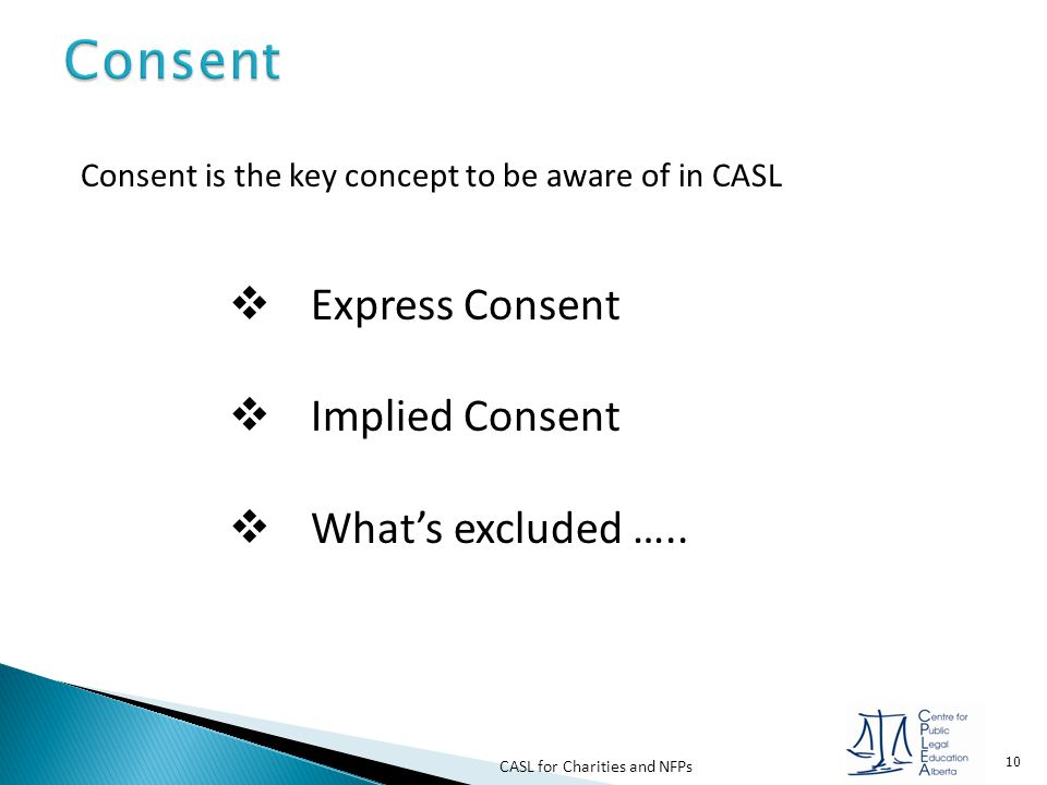 Consent Express Consent Implied Consent What's excluded …..