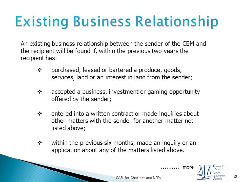 Existing Business Relationship