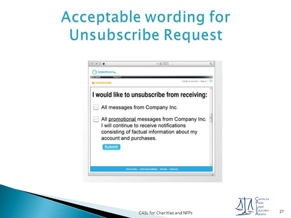 Acceptable wording for Unsubscribe Request