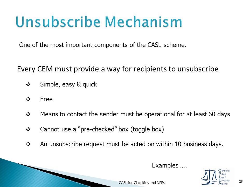 Unsubscribe Mechanism