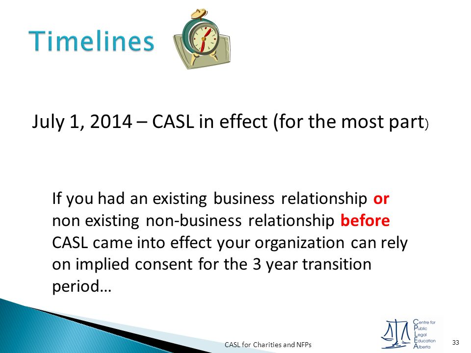 Timelines July 1, 2014 – CASL in effect (for the most part)