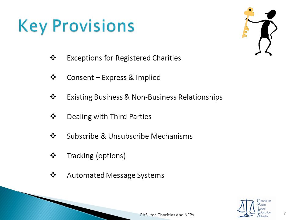 Key Provisions Exceptions for Registered Charities