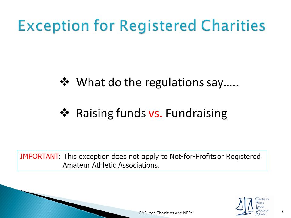 Exception for Registered Charities