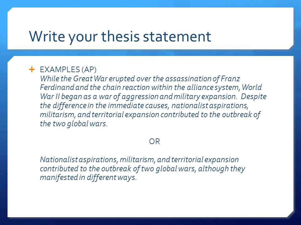 help write thesis sentence Developing a thesis think of yourself once you have a working thesis, write it down this will help you to refine your thesis.