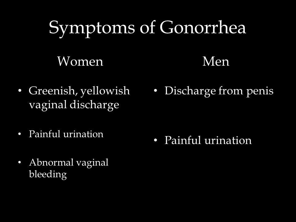 Symptoms of Gonorrhea Women Men Greenish, yellowish vaginal discharge