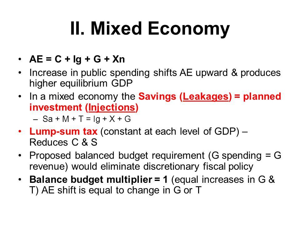 II. Mixed Economy AE = C + Ig + G + Xn