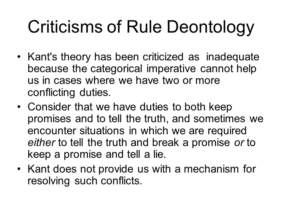 Criticisms of Rule Deontology