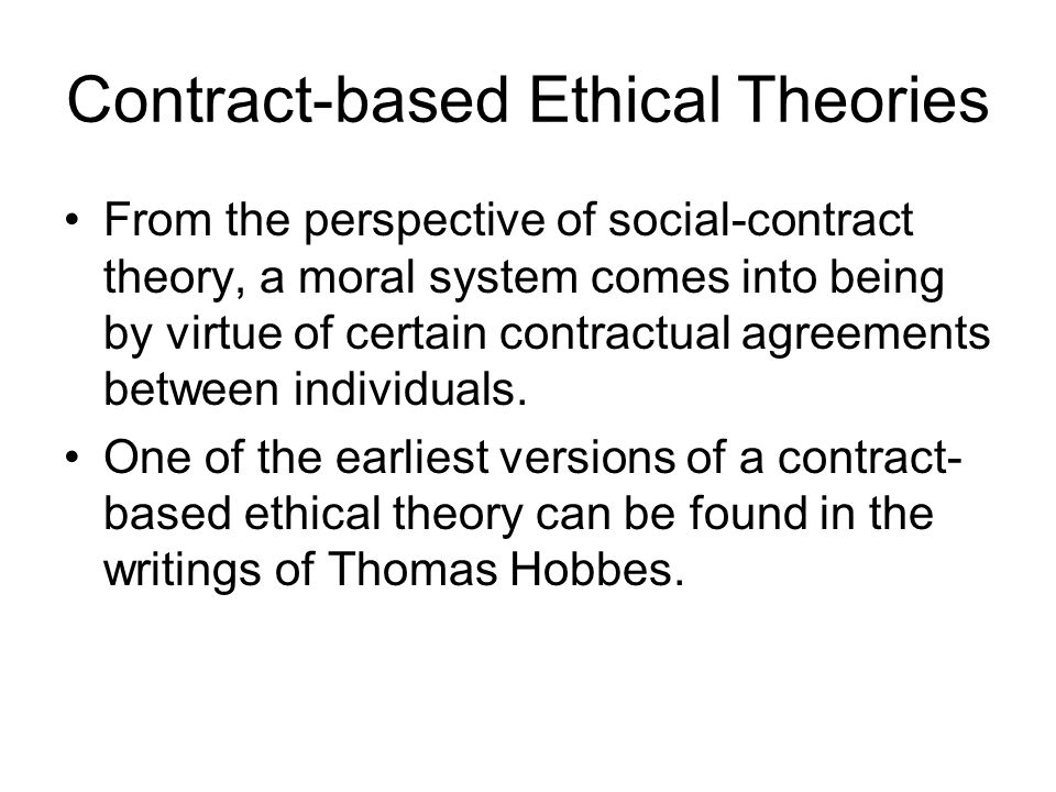 Contract-based Ethical Theories