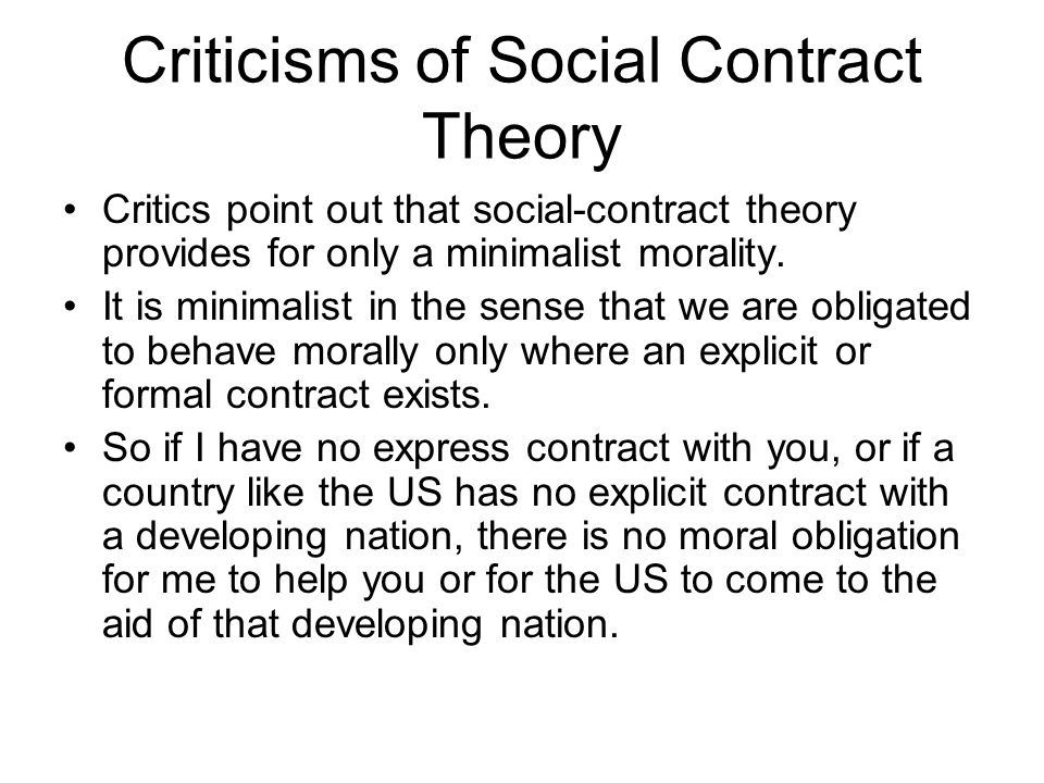 Criticisms of Social Contract Theory