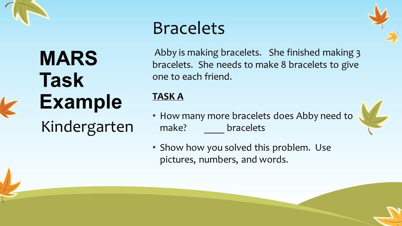 MARS Task Example Bracelets Kindergarten