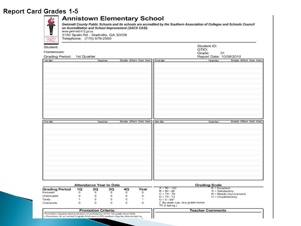 Report Card Grades 1-5