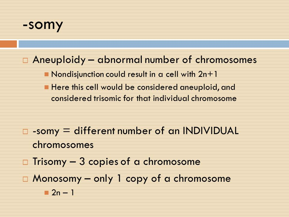 -somy Aneuploidy – abnormal number of chromosomes