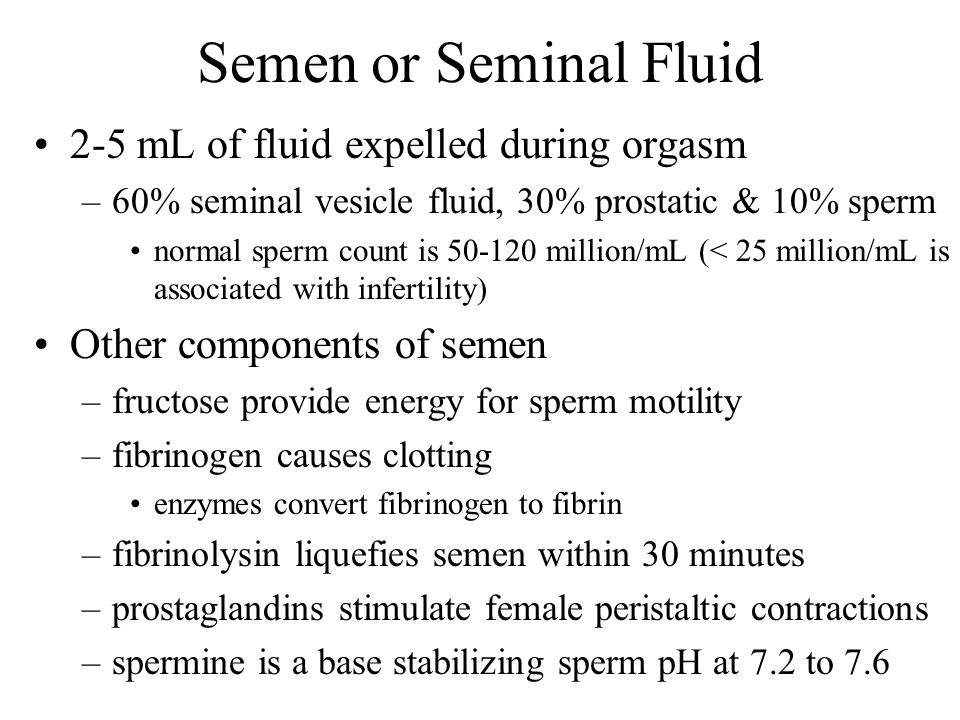 Semen or Seminal Fluid 2-5 mL of fluid expelled during orgasm