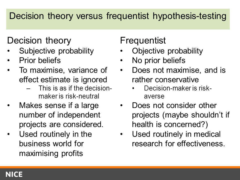 Decision theory versus frequentist hypothesis-testing