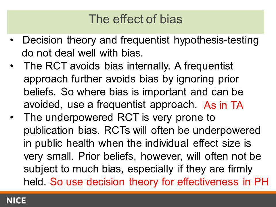 The effect of bias Decision theory and frequentist hypothesis-testing