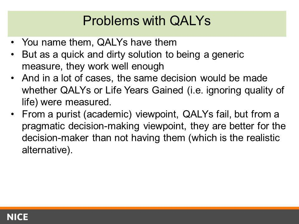 Problems with QALYs You name them, QALYs have them