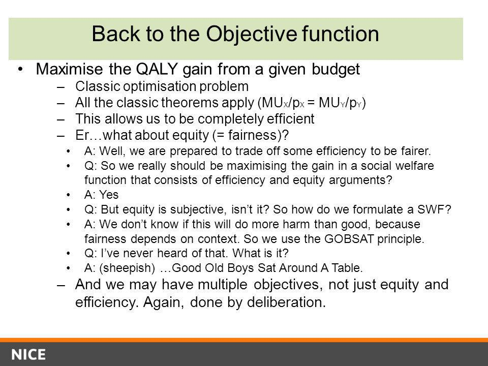 Back to the Objective function