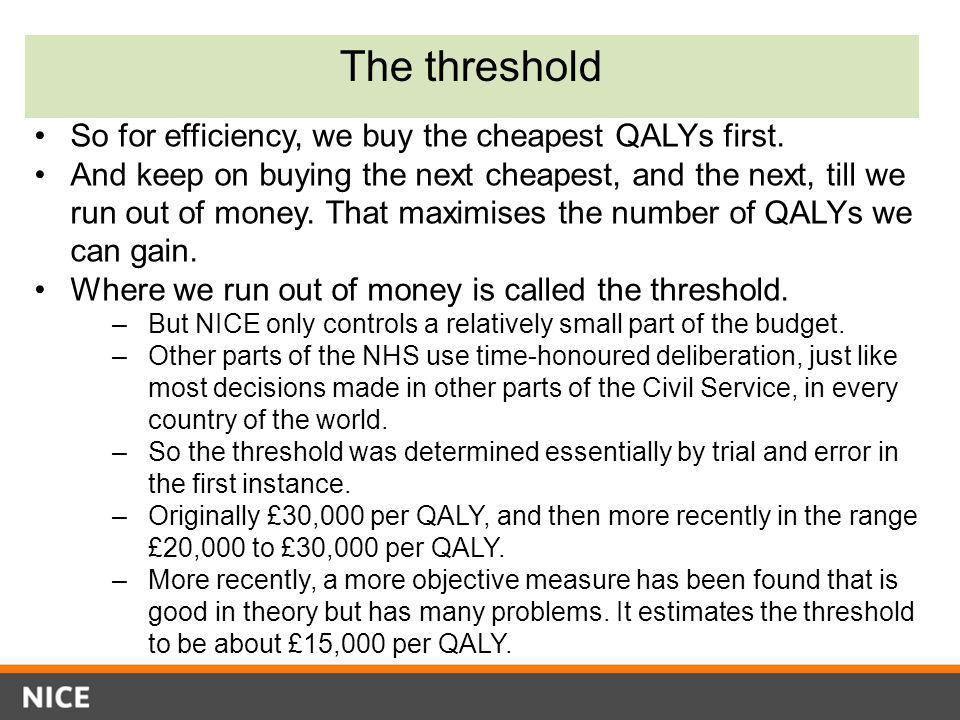 The threshold So for efficiency, we buy the cheapest QALYs first.