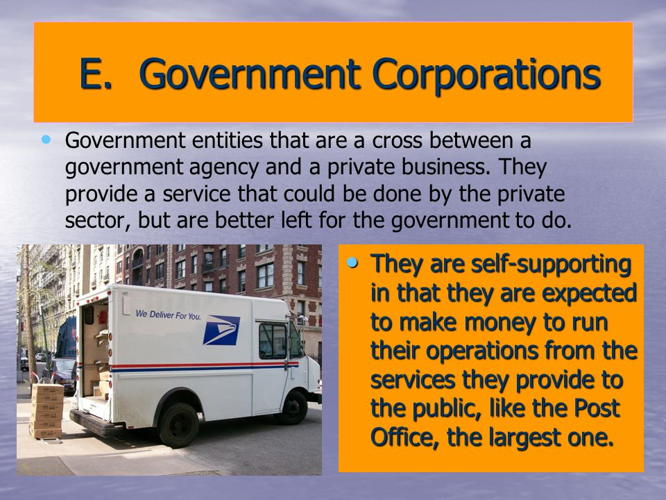 E. Government Corporations