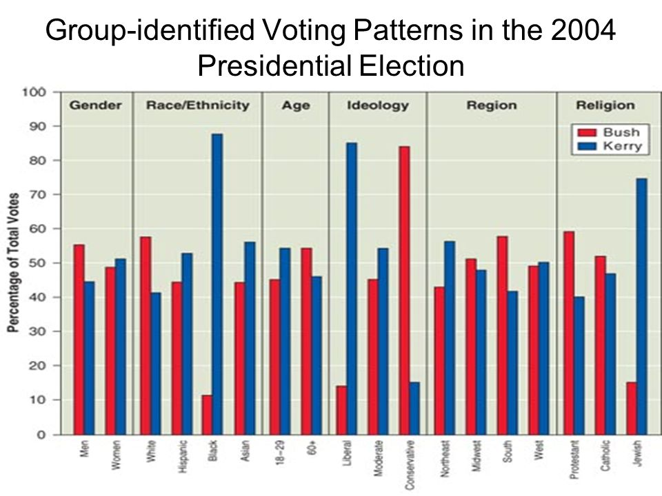 Group-identified Voting Patterns in the 2004 Presidential Election