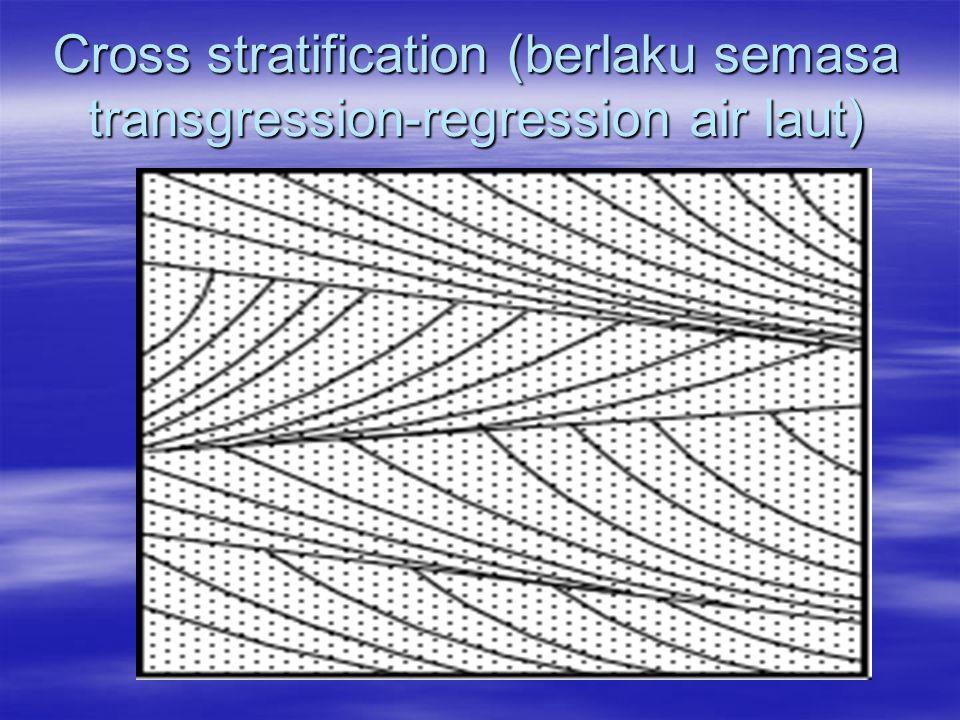 Cross stratification (berlaku semasa transgression-regression air laut)