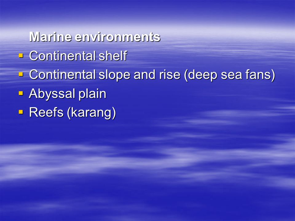 Marine environments Continental shelf. Continental slope and rise (deep sea fans) Abyssal plain.
