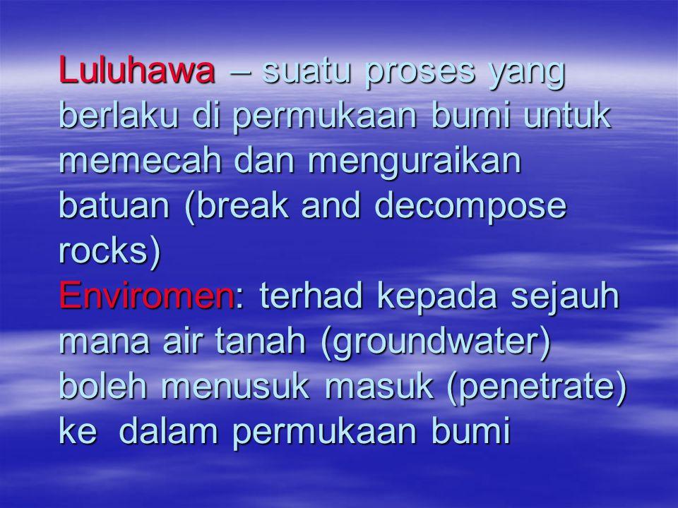 Luluhawa – suatu proses yang berlaku di permukaan bumi untuk memecah dan menguraikan batuan (break and decompose rocks) Enviromen: terhad kepada sejauh mana air tanah (groundwater) boleh menusuk masuk (penetrate) ke dalam permukaan bumi