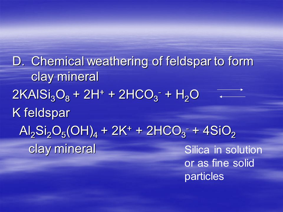 D. Chemical weathering of feldspar to form clay mineral
