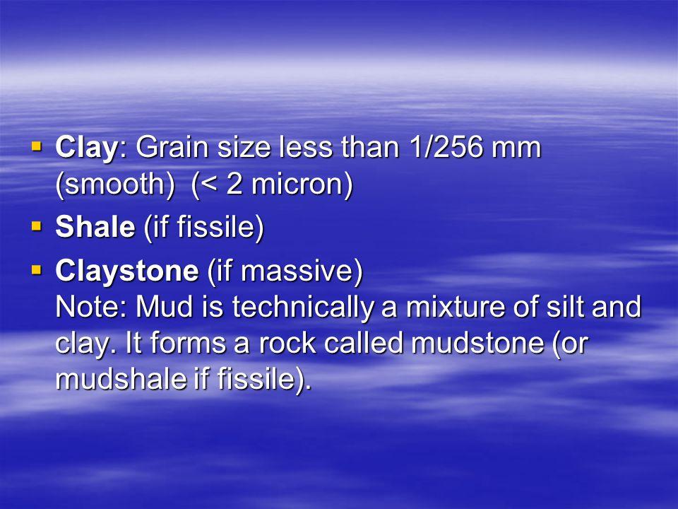 Clay: Grain size less than 1/256 mm (smooth) (< 2 micron)