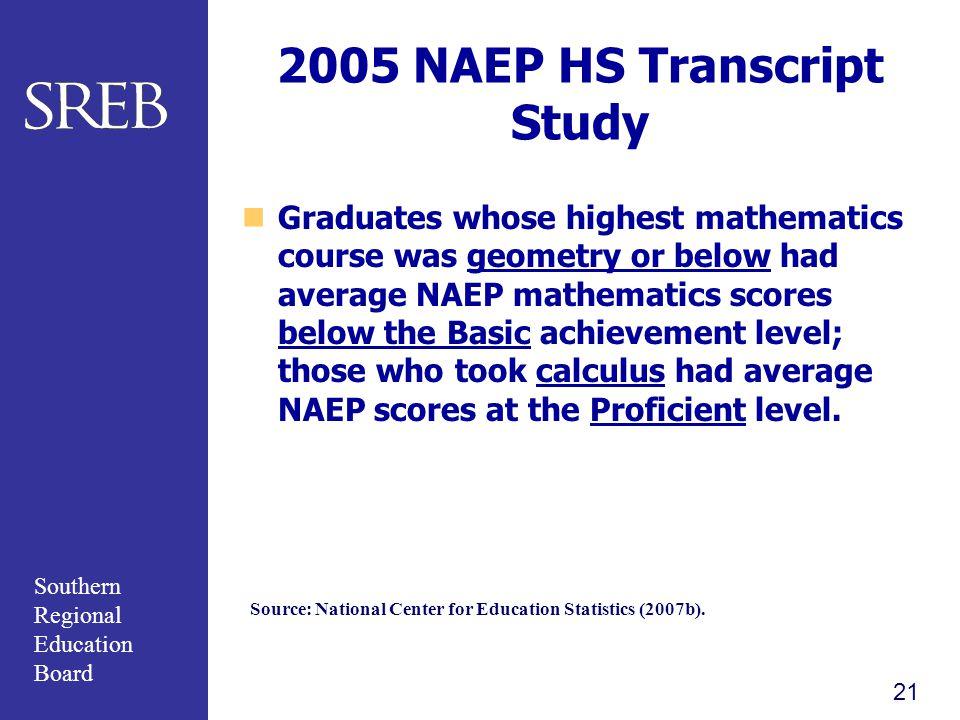 2005 NAEP HS Transcript Study