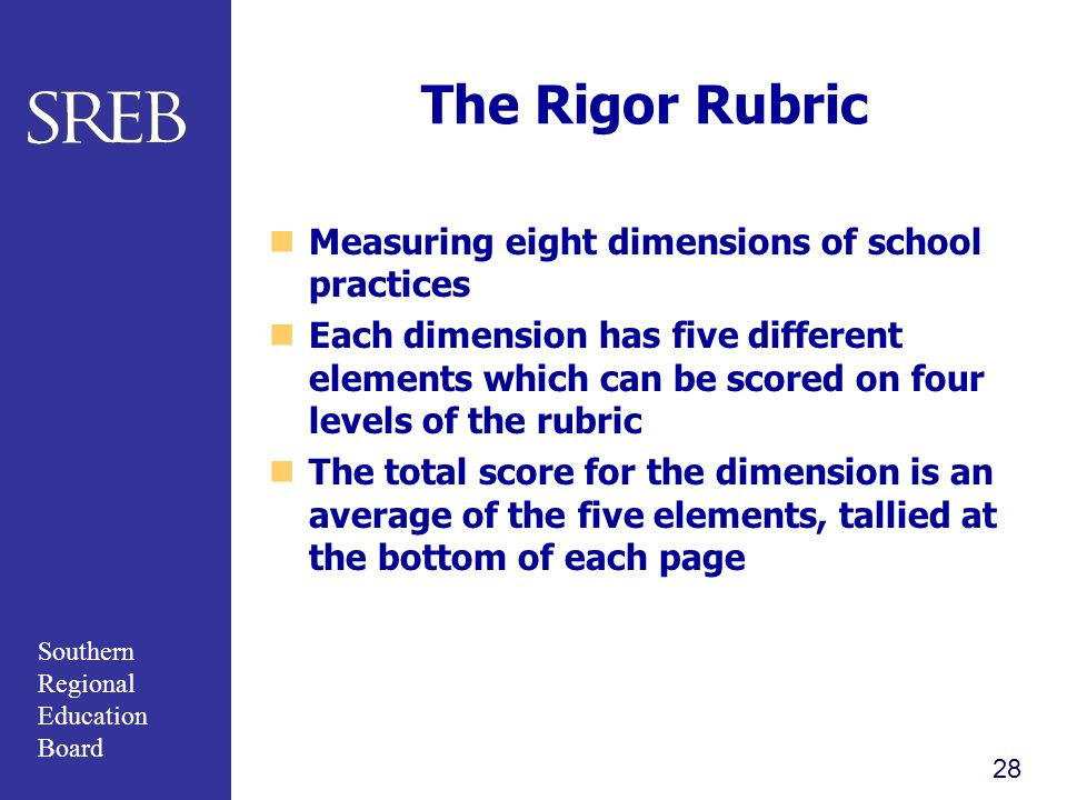The Rigor Rubric Measuring eight dimensions of school practices