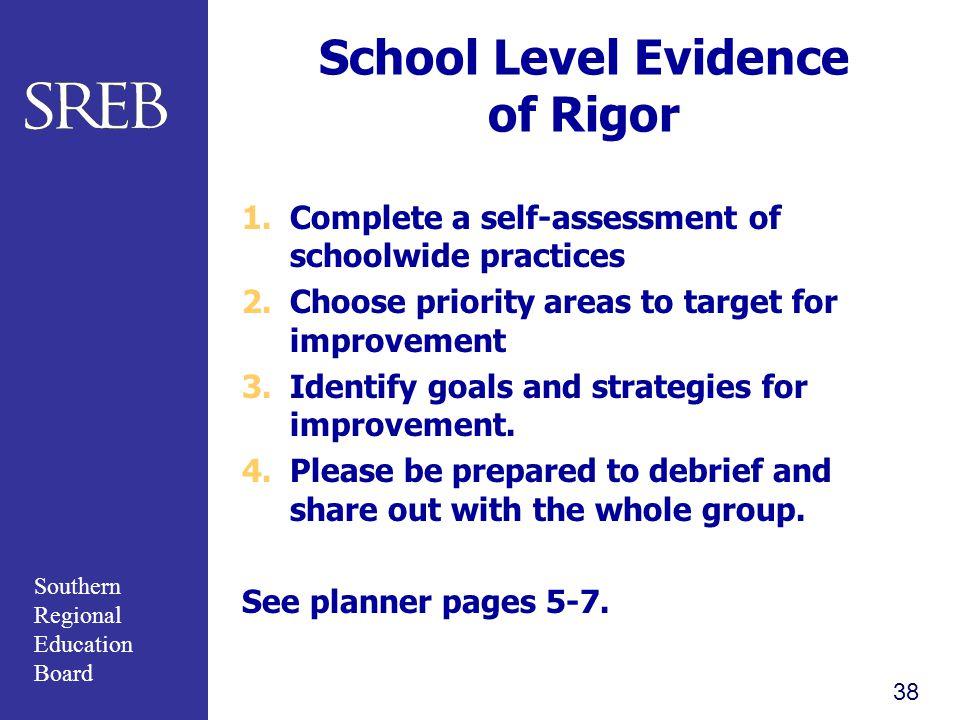 School Level Evidence of Rigor