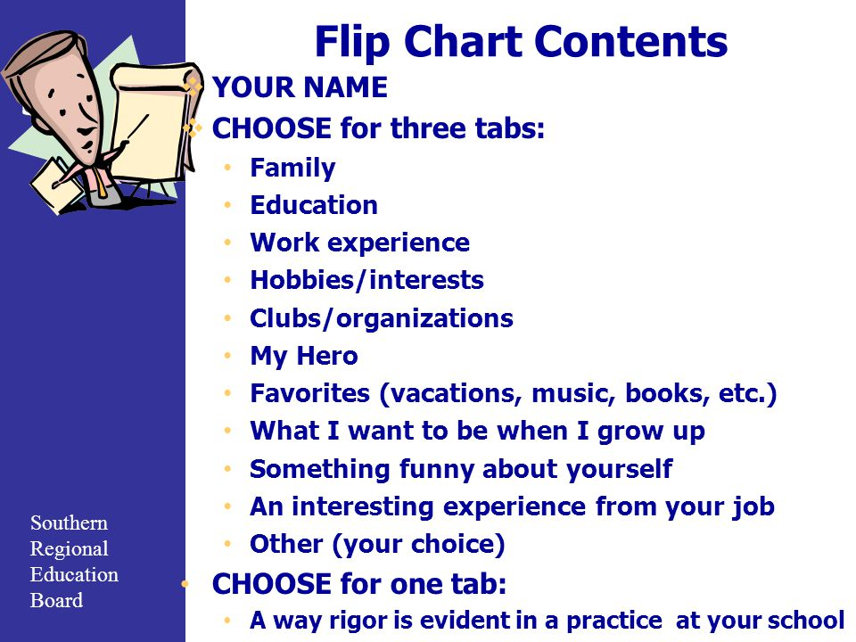 Flip Chart Contents YOUR NAME CHOOSE for three tabs: