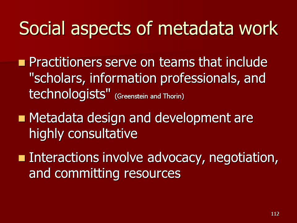 Social aspects of metadata work