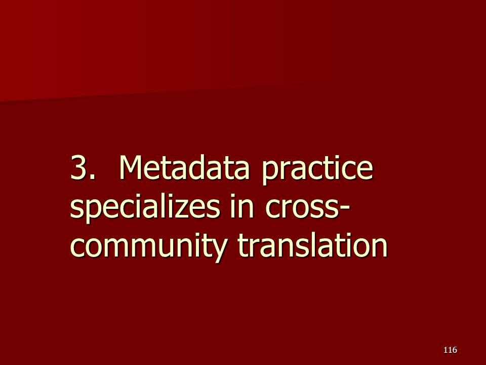 3. Metadata practice specializes in cross-community translation