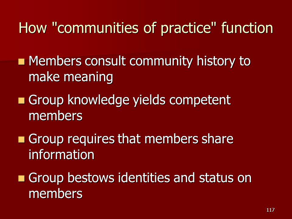 How communities of practice function