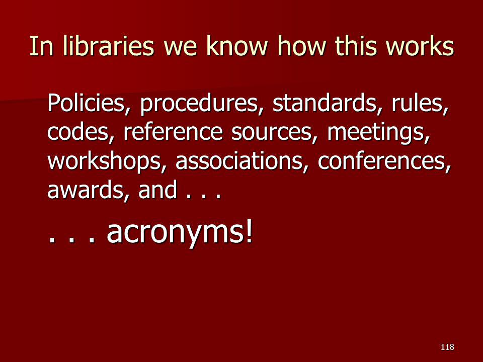 In libraries we know how this works