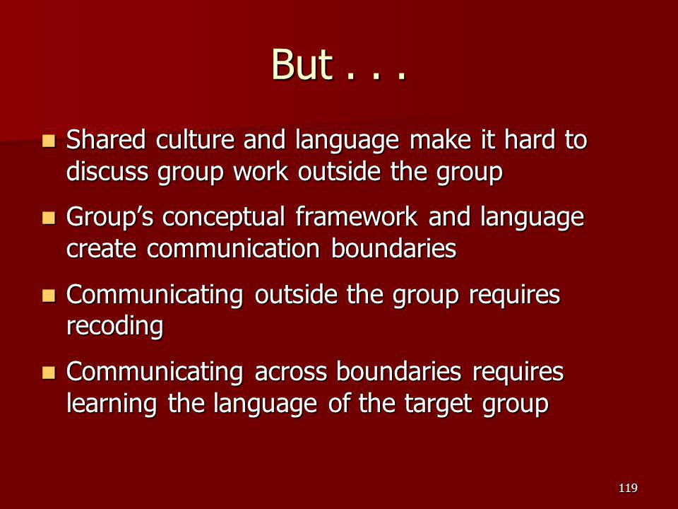 But . . . Shared culture and language make it hard to discuss group work outside the group.