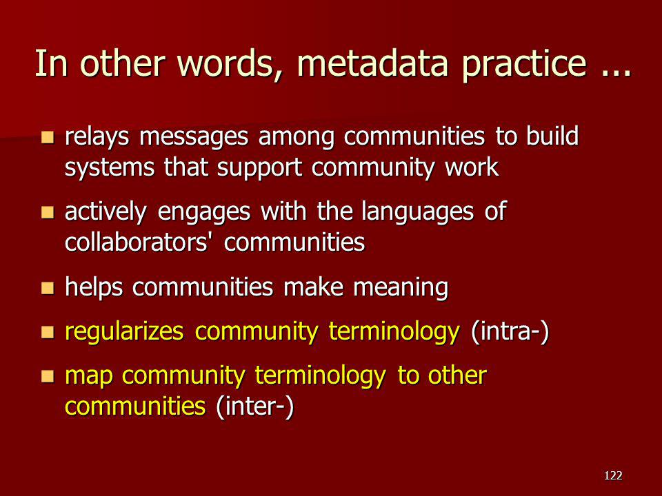 In other words, metadata practice ...