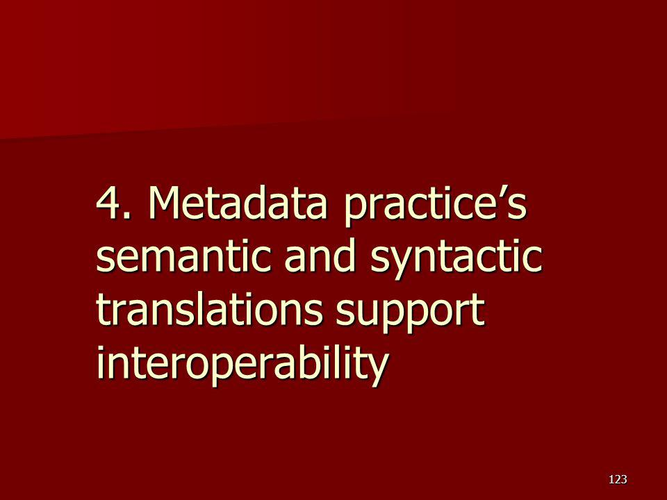 4. Metadata practice's semantic and syntactic translations support interoperability
