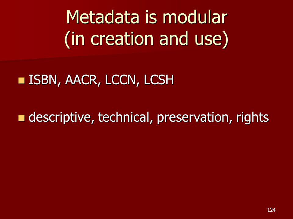 Metadata is modular (in creation and use)