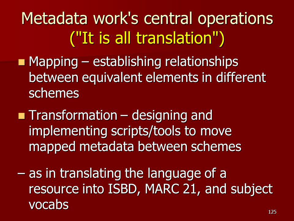 Metadata work s central operations ( It is all translation )