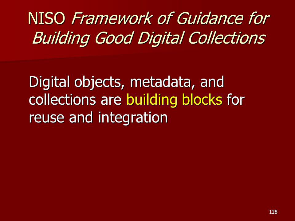 NISO Framework of Guidance for Building Good Digital Collections