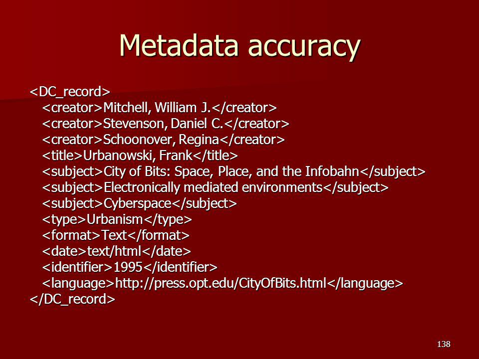 Metadata accuracy <DC_record>