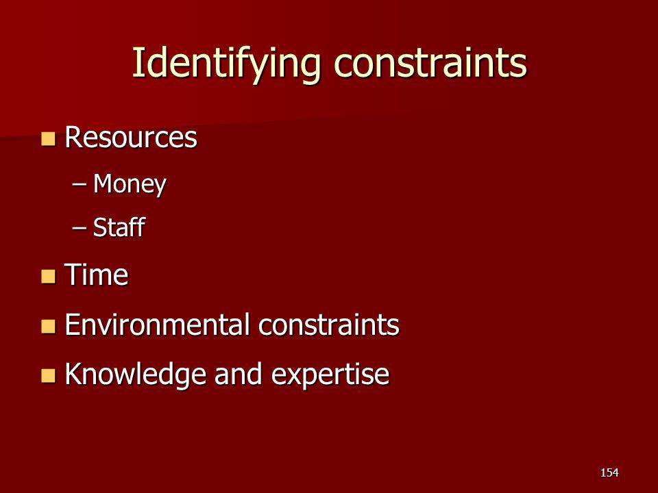 Identifying constraints