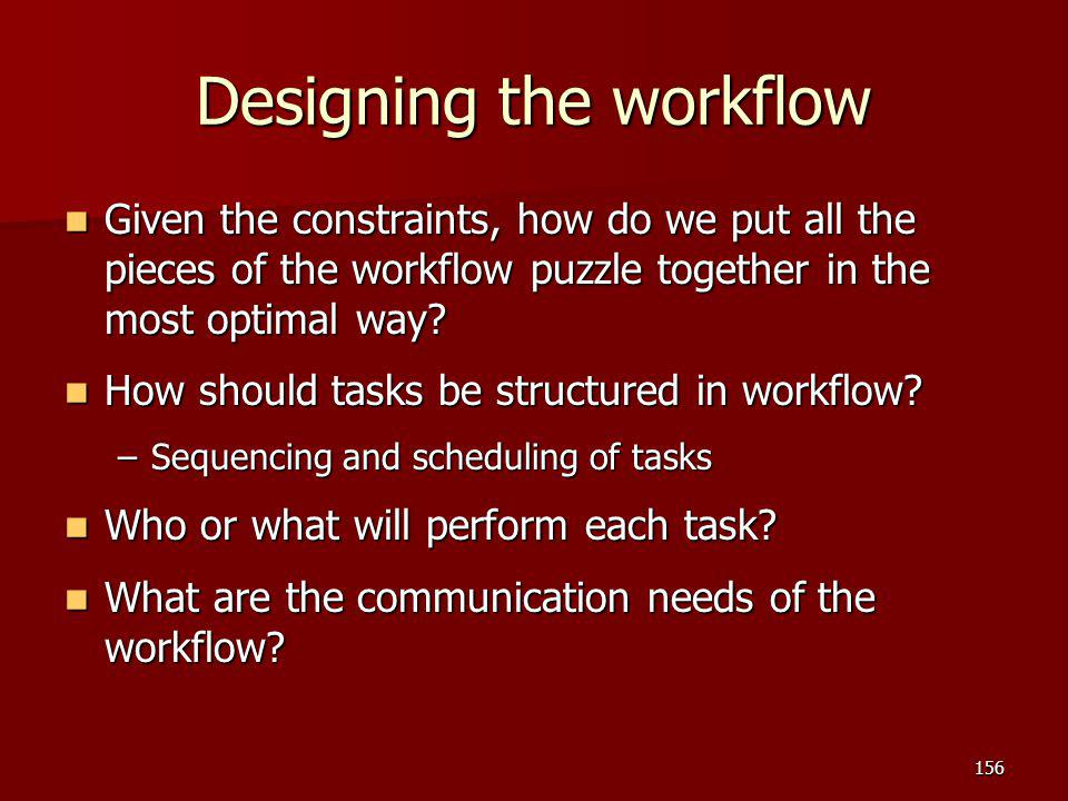 Designing the workflow