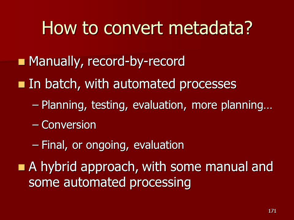 How to convert metadata