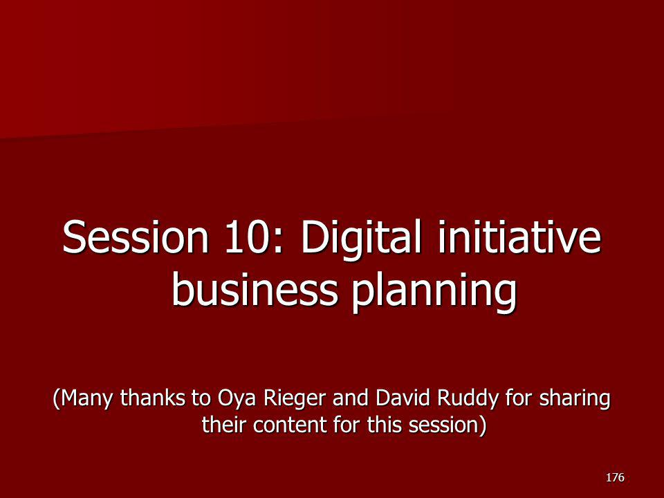 Session 10: Digital initiative business planning